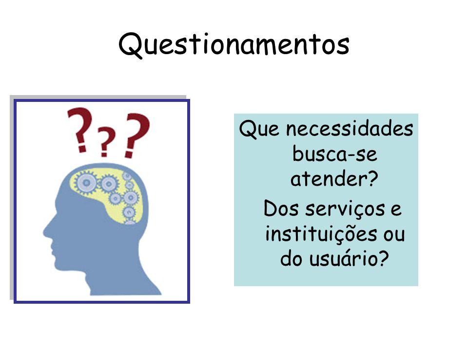 Questionamentos Que necessidades busca-se atender? Dos serviços e instituições ou do usuário?