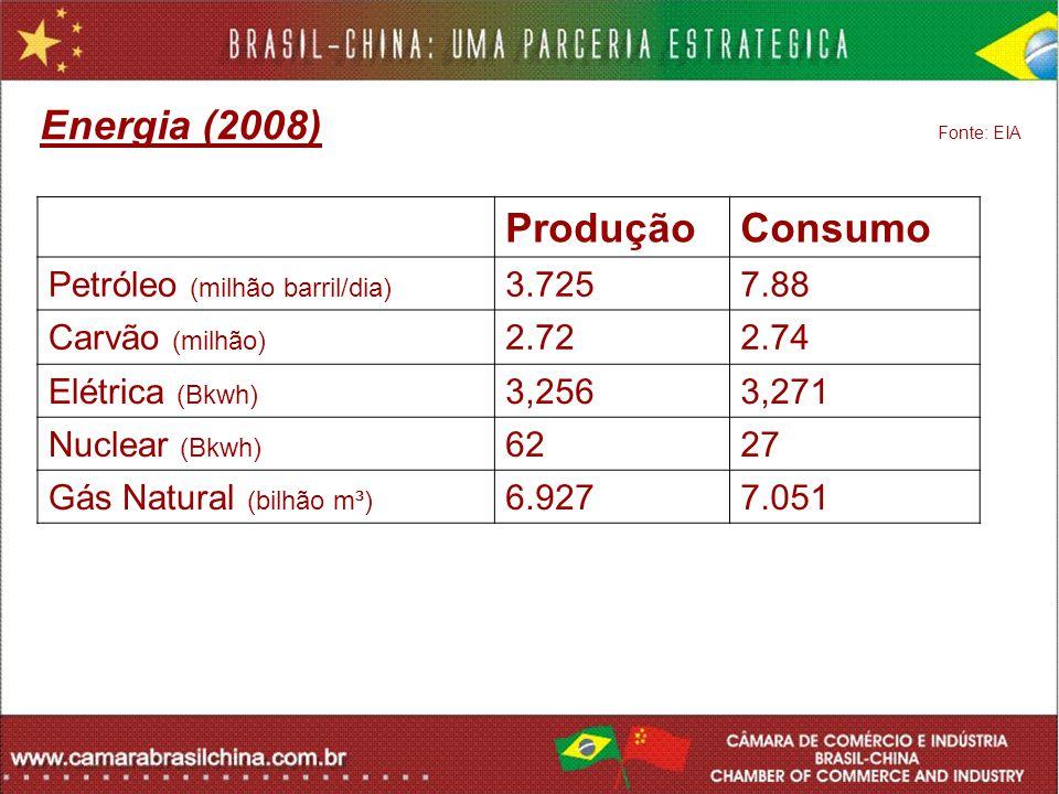 Energia (2008) Fonte: EIA ProduçãoConsumo Petróleo (milhão barril/dia) 3.7257.88 Carvão (milhão) 2.722.74 Elétrica (Bkwh) 3,2563,271 Nuclear (Bkwh) 62