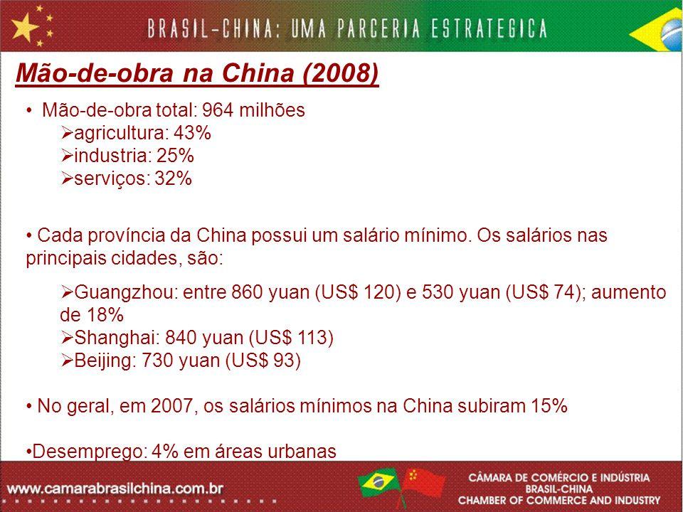 Mão-de-obra na China (2008) Mão-de-obra total: 964 milhões agricultura: 43% industria: 25% serviços: 32% Cada província da China possui um salário mín