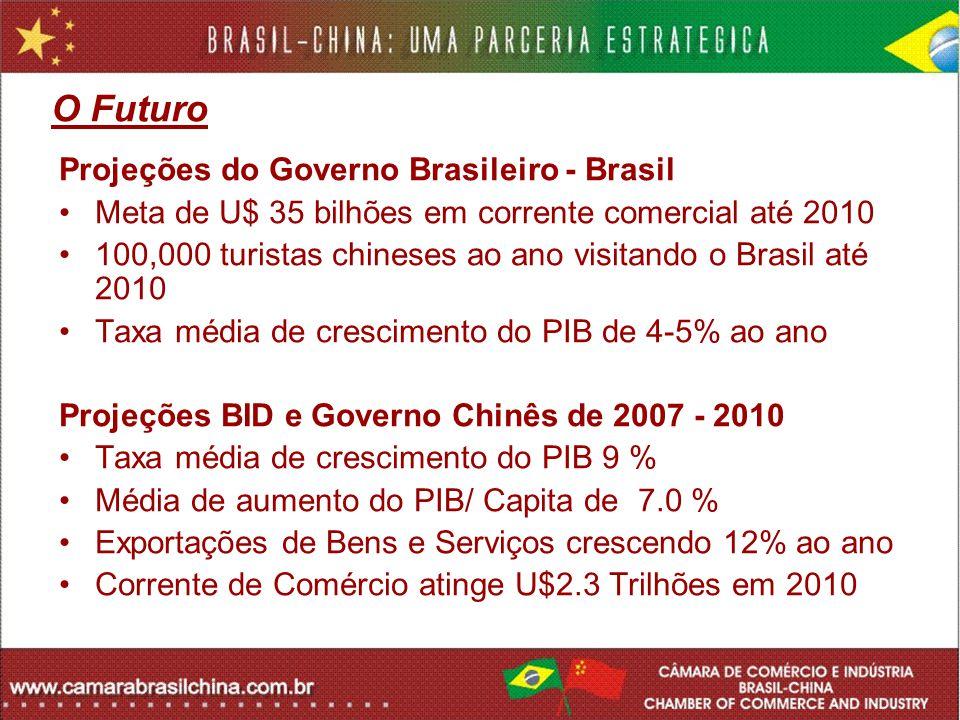 O Futuro Projeções do Governo Brasileiro - Brasil Meta de U$ 35 bilhões em corrente comercial até 2010 100,000 turistas chineses ao ano visitando o Br