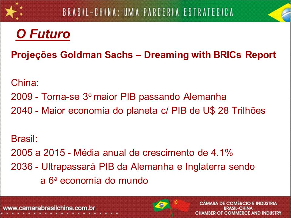 Fontes: BID IBGE MDIC – Ministério de Desenvolvimento, Indústria e Comércio Asian Development Bank CCPIT - Chinese Chamber for Promotion of International Trade MOFCOM - Ministry of Commerce of China IMF - International Monetary Fund State Statistics of PRC Forbes CIA – World Factbook The Economist FGV – Fundação Getúlio Vargas EPI – Earth Policy Institute GettyImages - Gettyimages.com