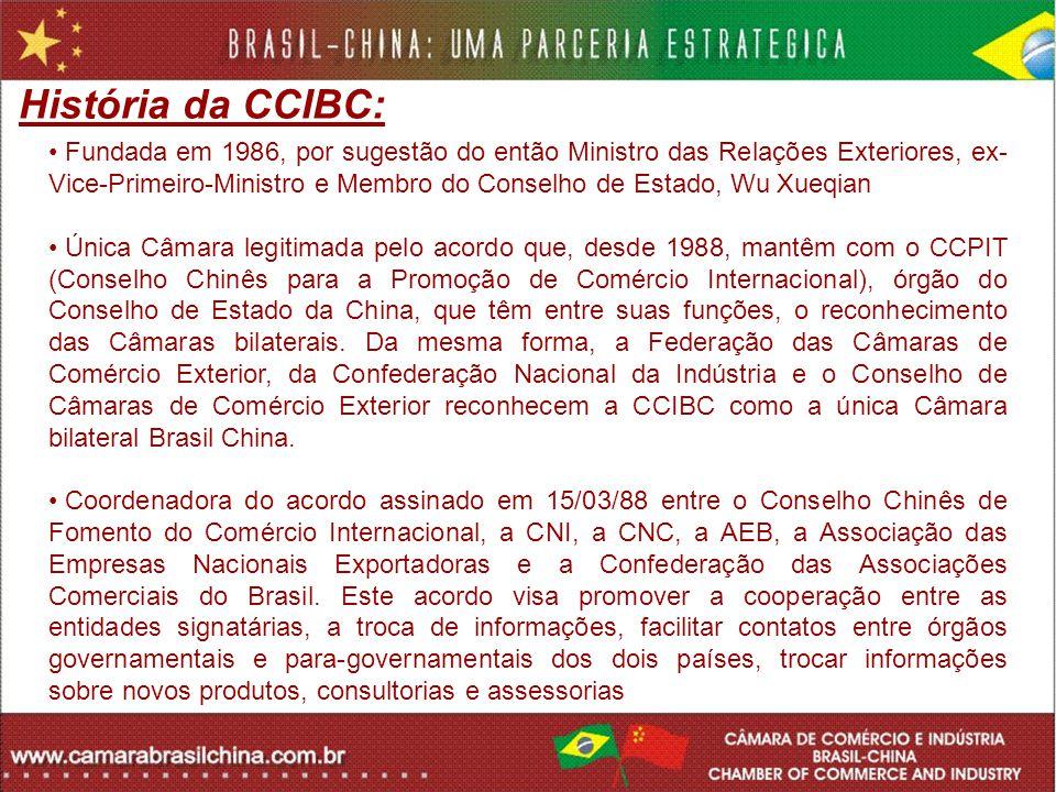 História da CCIBC: Fundada em 1986, por sugestão do então Ministro das Relações Exteriores, ex- Vice-Primeiro-Ministro e Membro do Conselho de Estado,