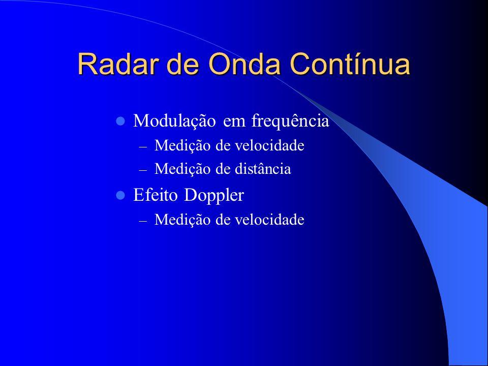 Modulação em frequência Sinal modulador periódico Possibilidade de medir distância e velocidade Recepção modulada em frequência pela diferença instantânea das frequências emitida e recebida