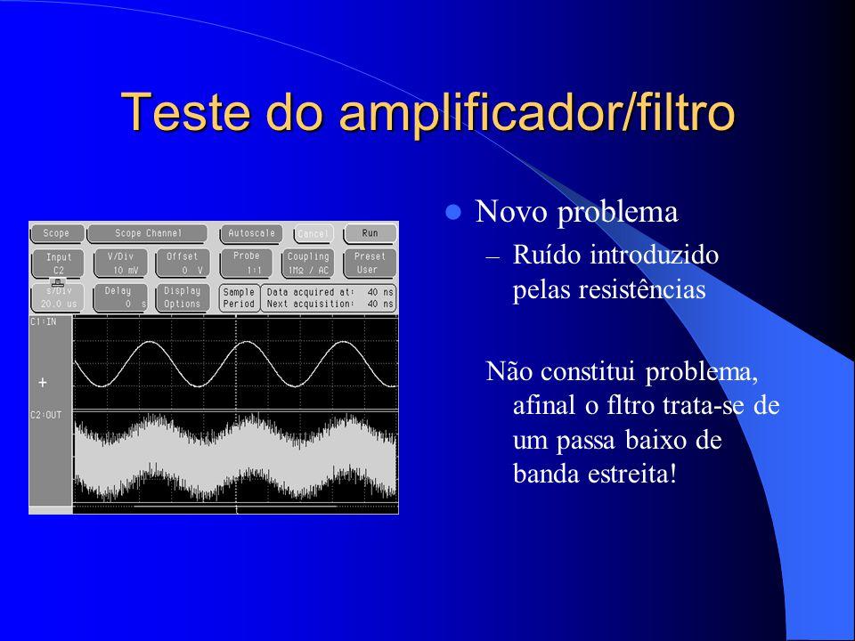 Teste do amplificador/filtro Novo problema – Ruído introduzido pelas resistências Não constitui problema, afinal o fltro trata-se de um passa baixo de