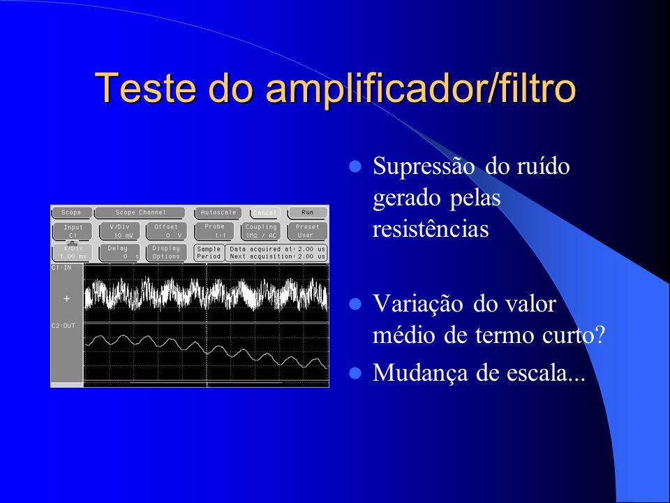 Teste do amplificador/filtro Supressão do ruído gerado pelas resistências Variação do valor médio de termo curto? Mudança de escala...