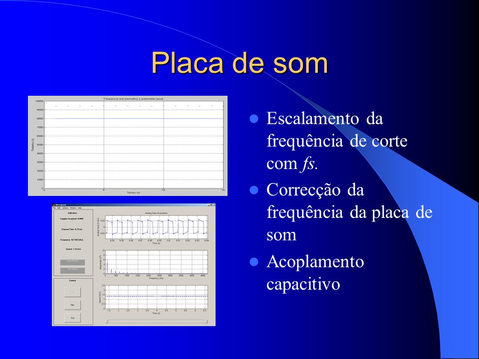 Placa de som Escalamento da frequência de corte com fs. Correcção da frequência da placa de som Acoplamento capacitivo