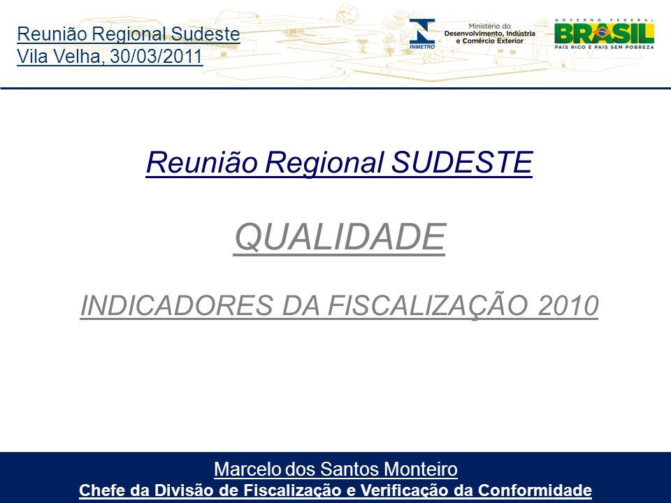 Reunião Regional Sudeste Vila Velha, 30/03/2011 Marcelo dos Santos Monteiro Chefe da Divisão de Fiscalização e Verificação da Conformidade Reunião Regional SUDESTE QUALIDADE INDICADORES DA FISCALIZAÇÃO 2010