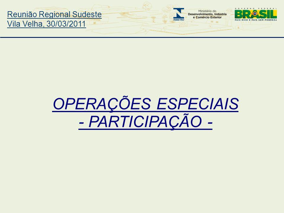 Reunião Regional Sudeste Vila Velha, 30/03/2011 OPERAÇÕES ESPECIAIS - PARTICIPAÇÃO -