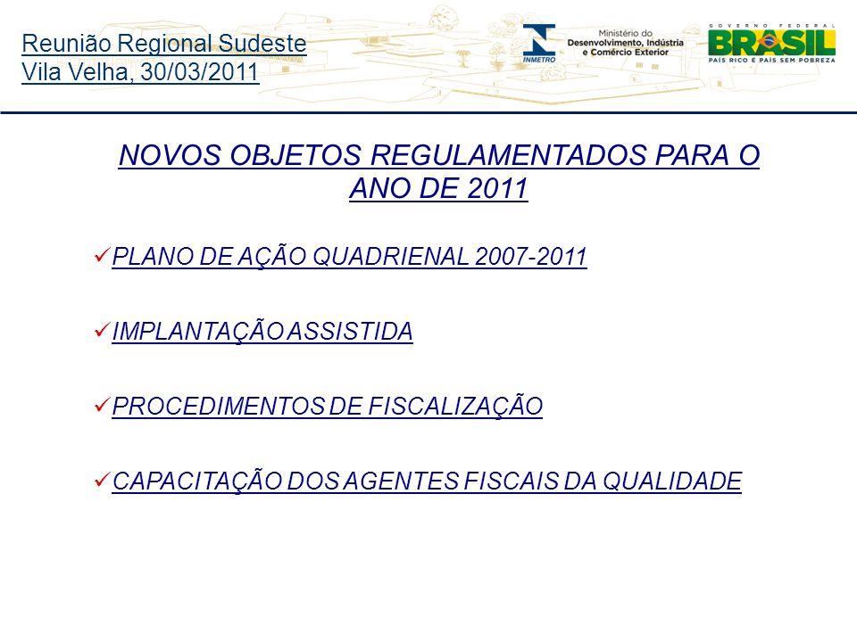 Reunião Regional Sudeste Vila Velha, 30/03/2011 NOVOS OBJETOS REGULAMENTADOS PARA O ANO DE 2011 PLANO DE AÇÃO QUADRIENAL 2007-2011 IMPLANTAÇÃO ASSISTIDA PROCEDIMENTOS DE FISCALIZAÇÃO CAPACITAÇÃO DOS AGENTES FISCAIS DA QUALIDADE