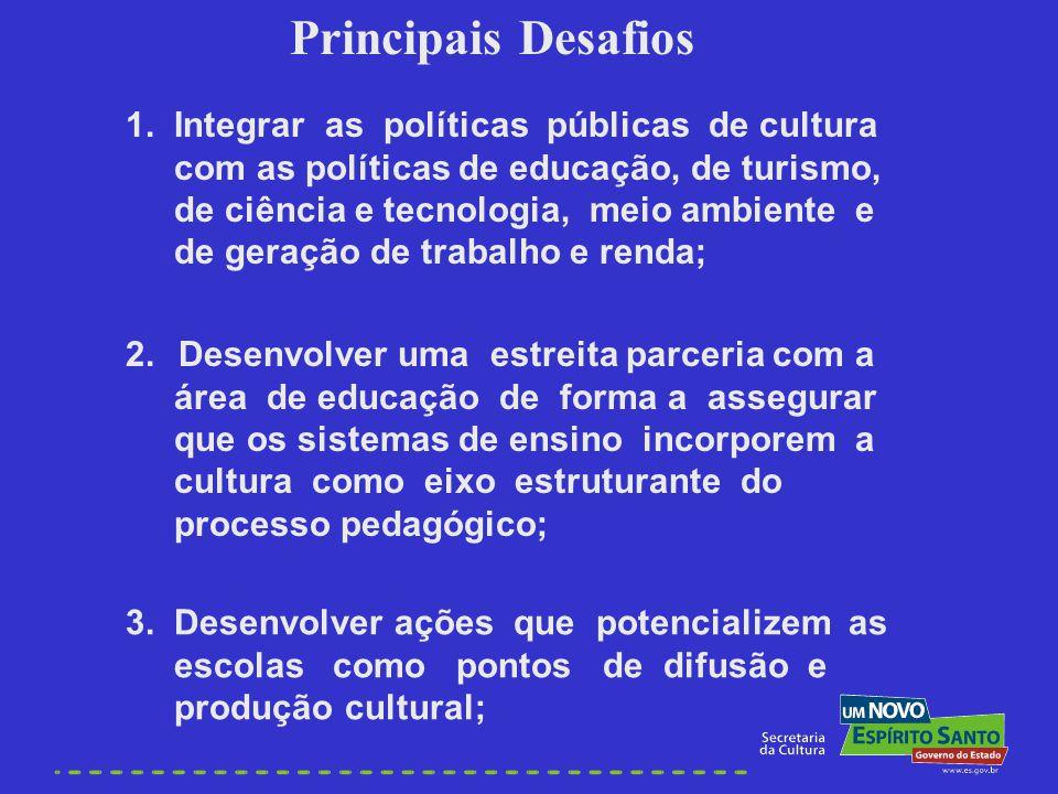 1. Integrar as políticas públicas de cultura com as políticas de educação, de turismo, de ciência e tecnologia, meio ambiente e de geração de trabalho