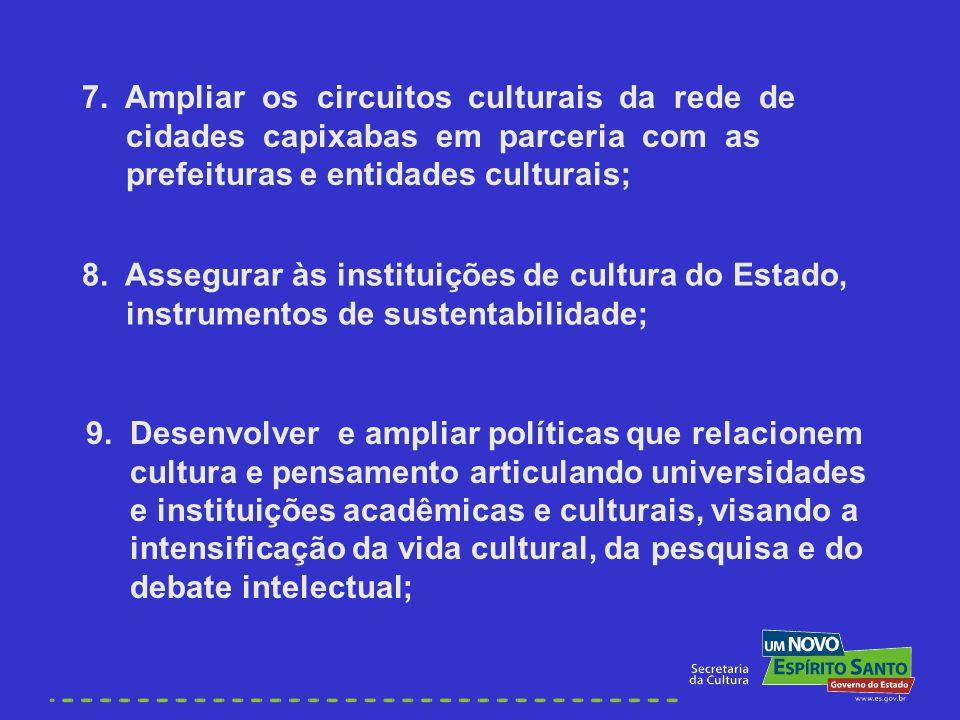 9. Desenvolver e ampliar políticas que relacionem cultura e pensamento articulando universidades e instituições acadêmicas e culturais, visando a inte