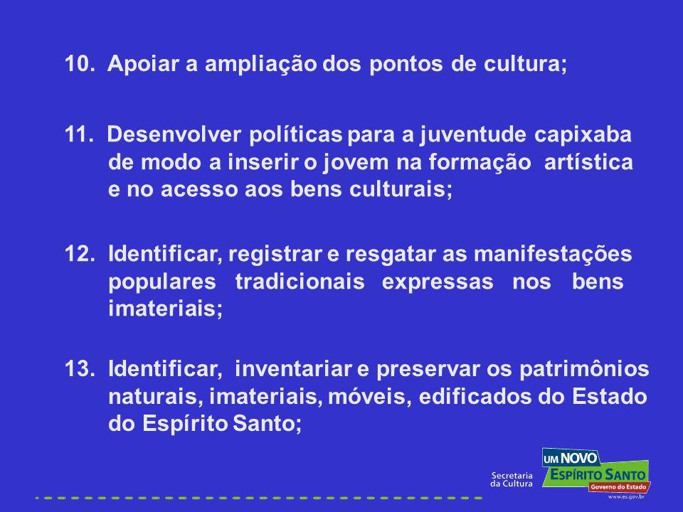 10. Apoiar a ampliação dos pontos de cultura; 11. Desenvolver políticas para a juventude capixaba de modo a inserir o jovem na formação artística e no
