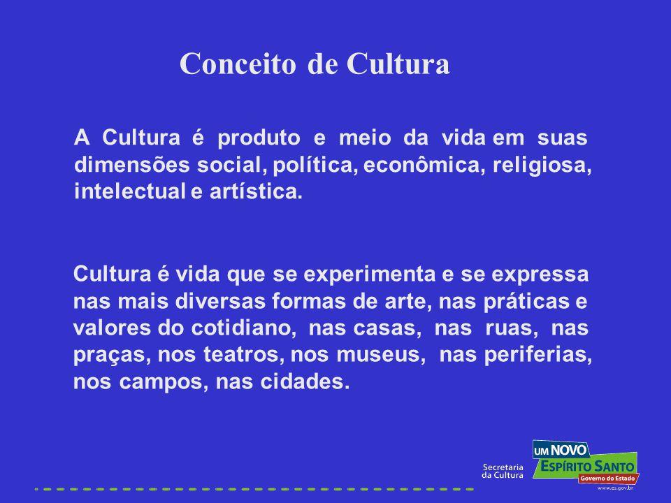 A Cultura é produto e meio da vida em suas dimensões social, política, econômica, religiosa, intelectual e artística. Cultura é vida que se experiment