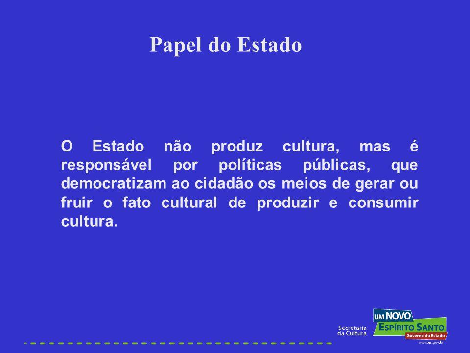 O Estado não produz cultura, mas é responsável por políticas públicas, que democratizam ao cidadão os meios de gerar ou fruir o fato cultural de produ