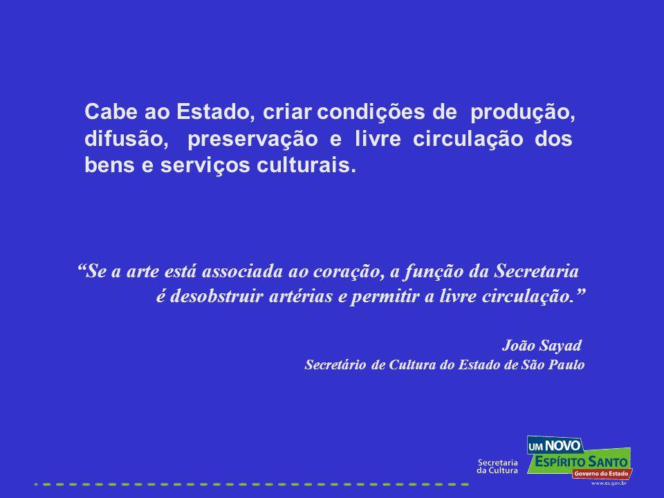 Cabe ao Estado, criar condições de produção, difusão, preservação e livre circulação dos bens e serviços culturais. Se a arte está associada ao coraçã