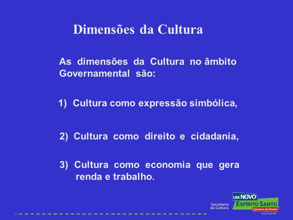 As dimensões da Cultura no âmbito Governamental são: Dimensões da Cultura 1)Cultura como expressão simbólica, 2) Cultura como direito e cidadania, 3)C