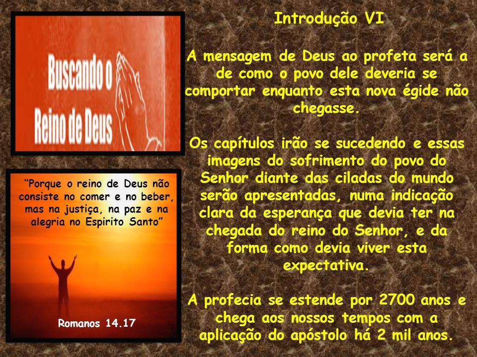 Introdução VI A mensagem de Deus ao profeta será a de como o povo dele deveria se comportar enquanto esta nova égide não chegasse. Os capítulos irão s