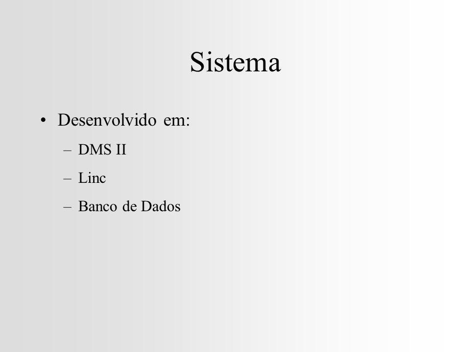Sistema Desenvolvido em: –DMS II –Linc –Banco de Dados
