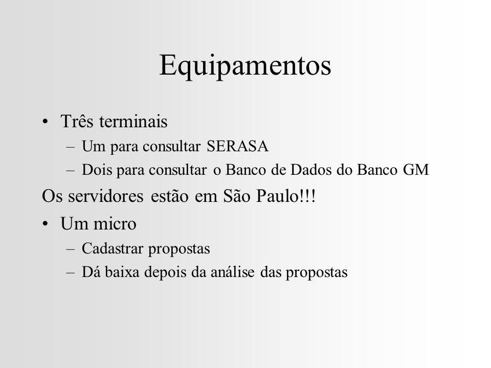 Equipamentos Três terminais –Um para consultar SERASA –Dois para consultar o Banco de Dados do Banco GM Os servidores estão em São Paulo!!.