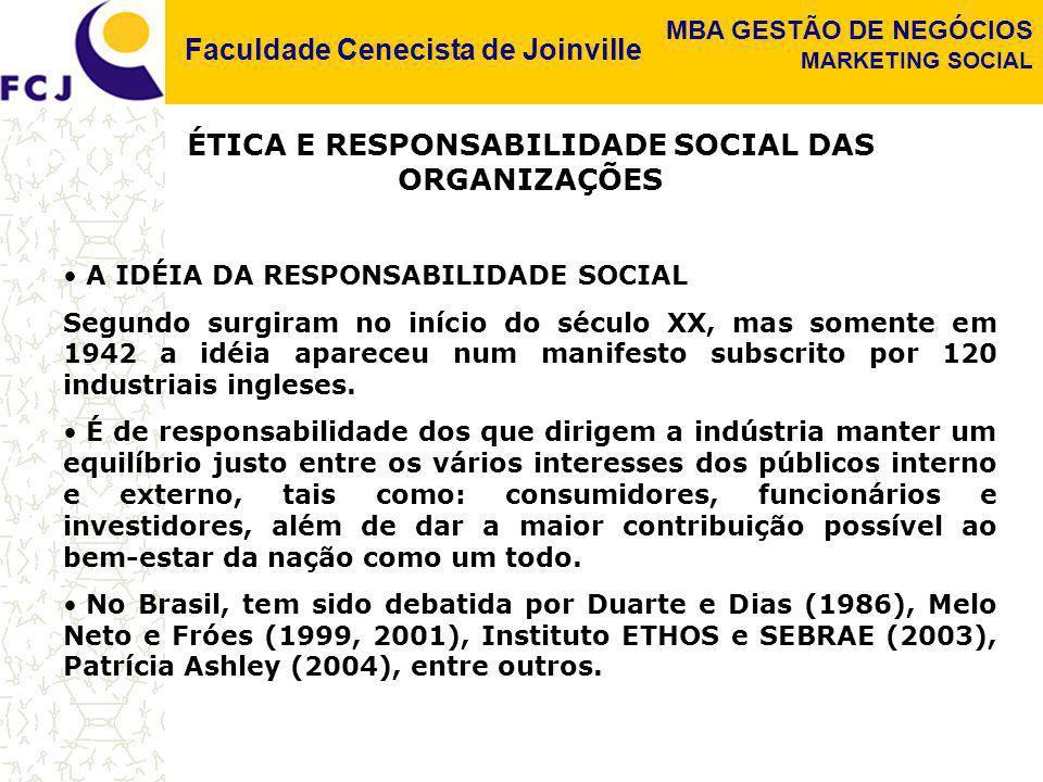 Faculdade Cenecista de Joinville MBA GESTÃO DE NEGÓCIOS MARKETING SOCIAL ÉTICA E RESPONSABILIDADE SOCIAL DAS ORGANIZAÇÕES A IDÉIA DA RESPONSABILIDADE