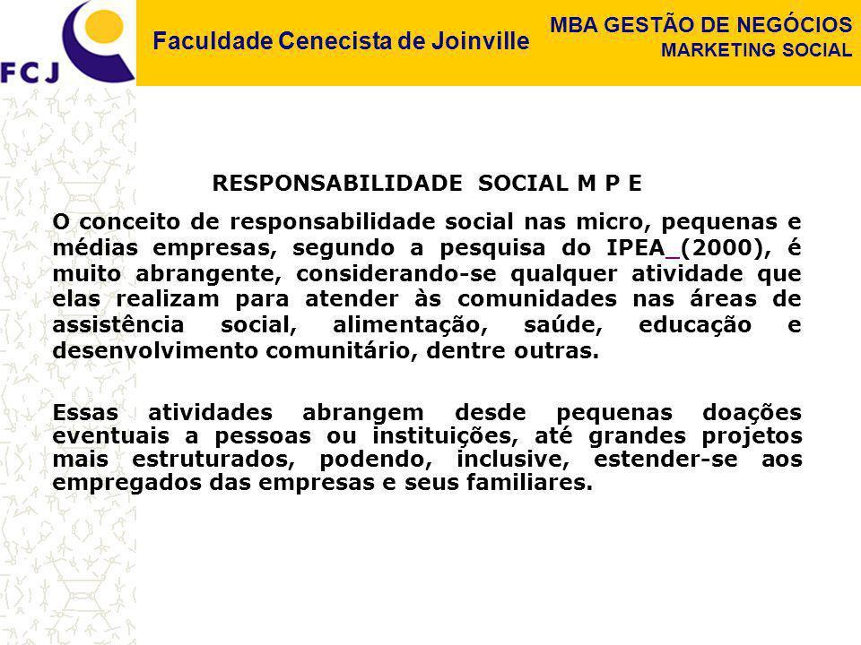 Faculdade Cenecista de Joinville MBA GESTÃO DE NEGÓCIOS MARKETING SOCIAL RESPONSABILIDADE SOCIAL M P E O conceito de responsabilidade social nas micro