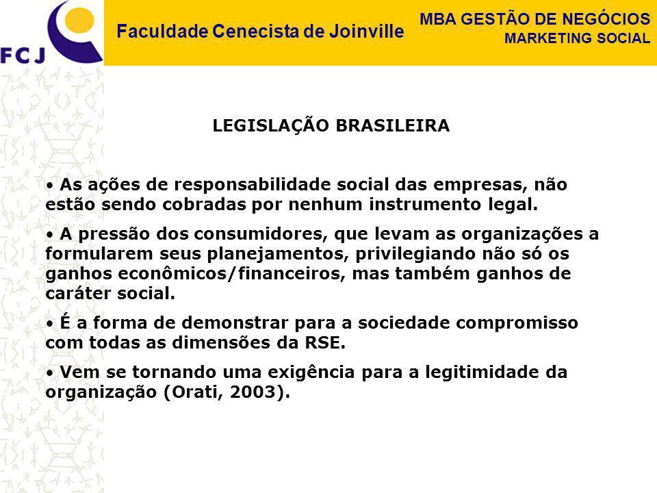 Faculdade Cenecista de Joinville MBA GESTÃO DE NEGÓCIOS MARKETING SOCIAL LEGISLAÇÃO BRASILEIRA As ações de responsabilidade social das empresas, não e