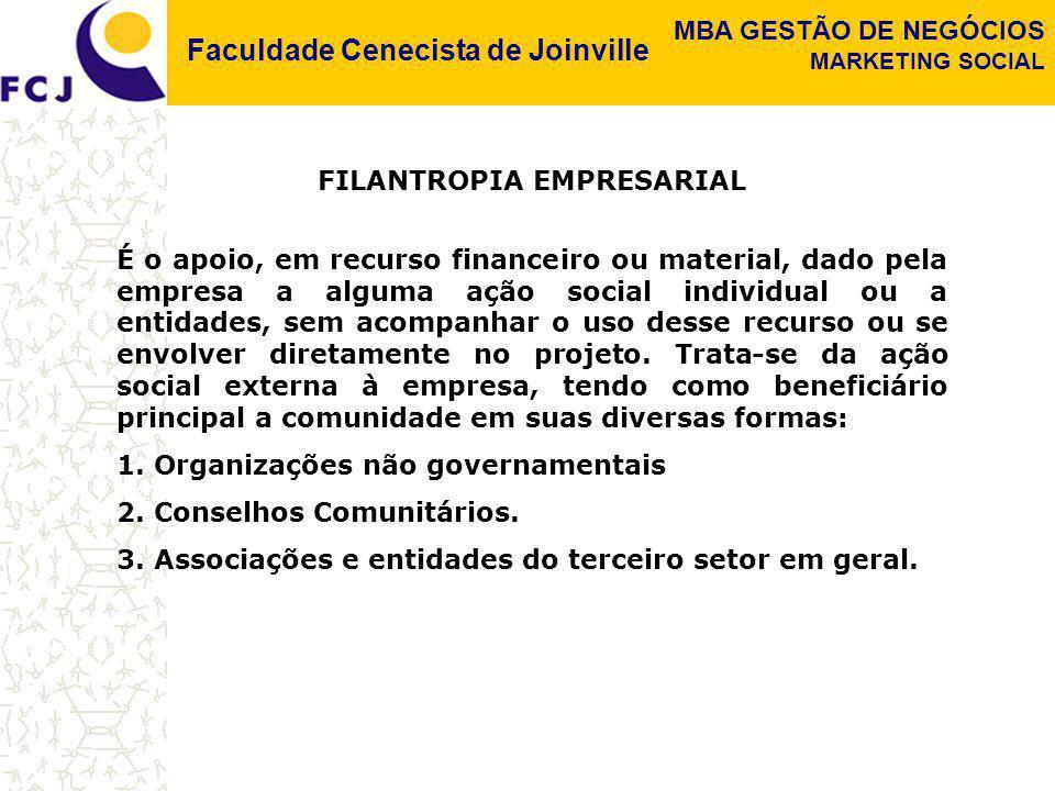 Faculdade Cenecista de Joinville MBA GESTÃO DE NEGÓCIOS MARKETING SOCIAL FILANTROPIA EMPRESARIAL É o apoio, em recurso financeiro ou material, dado pe