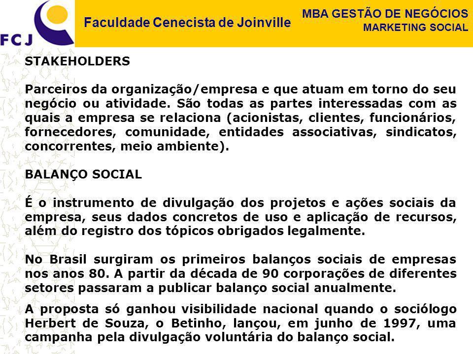 Faculdade Cenecista de Joinville MBA GESTÃO DE NEGÓCIOS MARKETING SOCIAL STAKEHOLDERS Parceiros da organização/empresa e que atuam em torno do seu neg