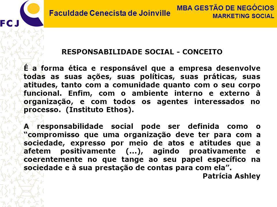 Faculdade Cenecista de Joinville MBA GESTÃO DE NEGÓCIOS MARKETING SOCIAL RESPONSABILIDADE SOCIAL - CONCEITO É a forma ética e responsável que a empres