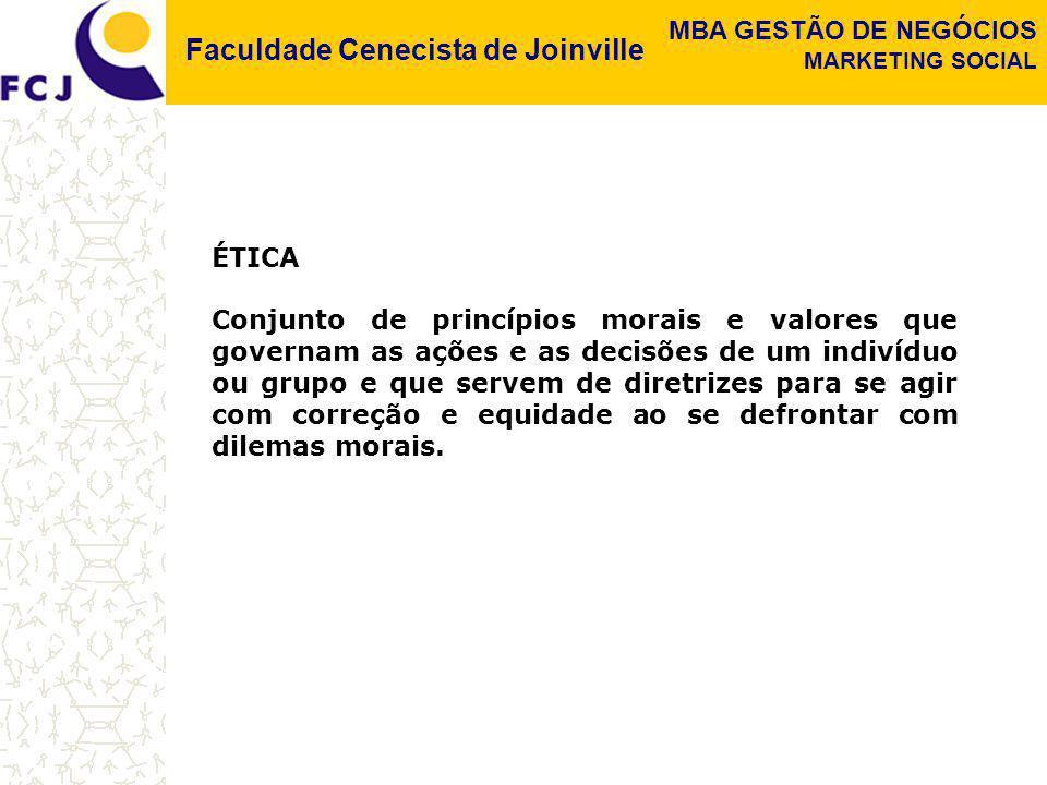 Faculdade Cenecista de Joinville MBA GESTÃO DE NEGÓCIOS MARKETING SOCIAL ÉTICA Conjunto de princípios morais e valores que governam as ações e as deci