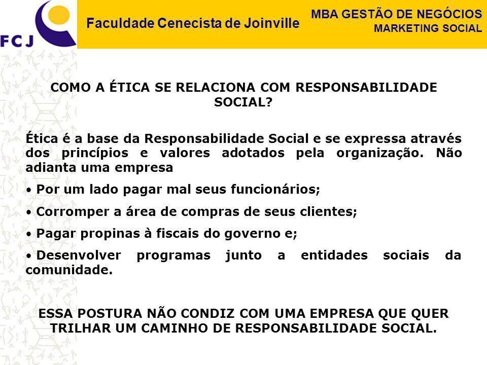 Faculdade Cenecista de Joinville MBA GESTÃO DE NEGÓCIOS MARKETING SOCIAL COMO A ÉTICA SE RELACIONA COM RESPONSABILIDADE SOCIAL? Ética é a base da Resp