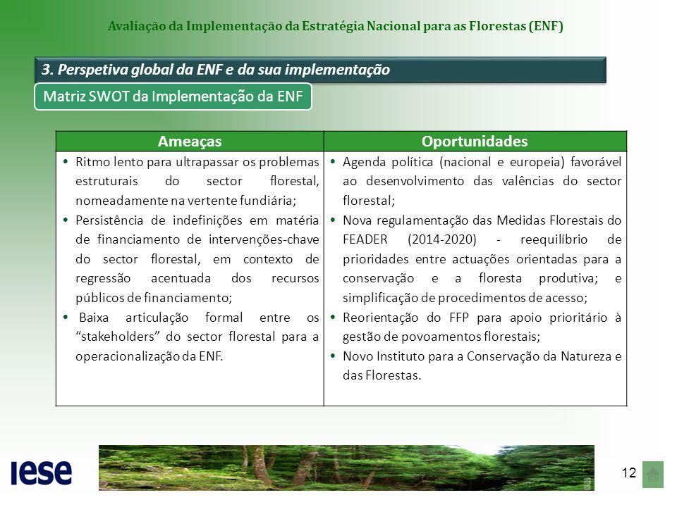 12 Avaliação da Implementação da Estratégia Nacional para as Florestas (ENF) AmeaçasOportunidades Ritmo lento para ultrapassar os problemas estruturai