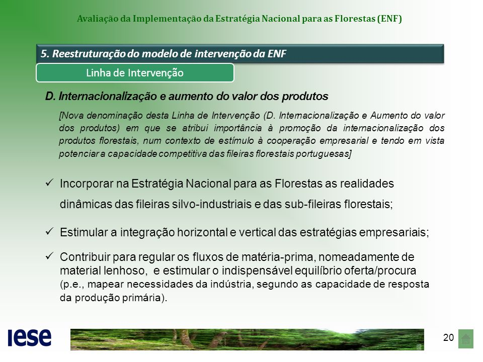 20 Avaliação da Implementação da Estratégia Nacional para as Florestas (ENF) 5. Reestruturação do modelo de intervenção da ENF D. Internacionalização