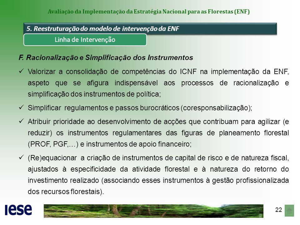 22 Avaliação da Implementação da Estratégia Nacional para as Florestas (ENF) 5. Reestruturação do modelo de intervenção da ENF F. Racionalização e Sim