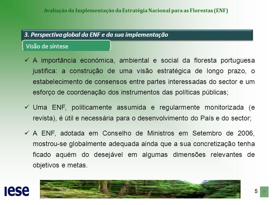 6 Avaliação da Implementação da Estratégia Nacional para as Florestas (ENF) A programação da ENF apresentou quatro dimensões-problema que viriam a condicionar a sua concretização: Reduzida seletividade/definição de prioridades, na identificação de Objetivos e Ações/Sub-ações; Ausência de identificação sistemática de recursos de financiamento; Inexistência de uma perspetiva clara de Monitorização; Capacidade limitada para inspirar políticas.