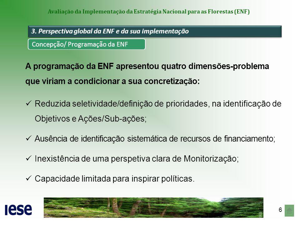 7 Avaliação da Implementação da Estratégia Nacional para as Florestas (ENF) Arquitectura de Linhas de Intervenção dotada de racionalidade, reflectindo o equilíbrio entre os pilares do desenvolvimento sustentável da floresta e centrada em três vertentes-chave: Mitigação dos riscos (e especialização do território - PROF); Reforço da produtividade (e também da capacidade competitiva) dos segmentos da fileira florestal; Esforço de racionalização de instrumentos.