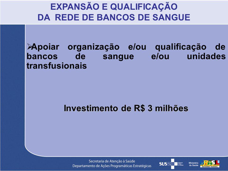 Apoiar organização e/ou qualificação de bancos de sangue e/ou unidades transfusionais Investimento de R$ 3 milhões EXPANSÃO E QUALIFICAÇÃO DA REDE DE