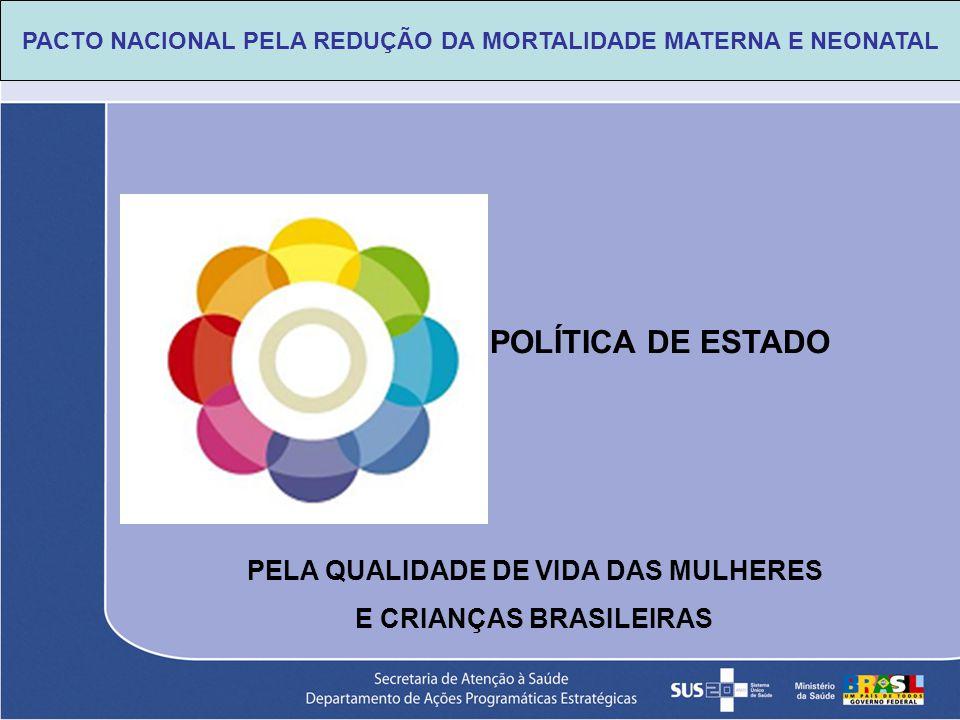 PELA QUALIDADE DE VIDA DAS MULHERES E CRIANÇAS BRASILEIRAS POLÍTICA DE ESTADO PACTO NACIONAL PELA REDUÇÃO DA MORTALIDADE MATERNA E NEONATAL