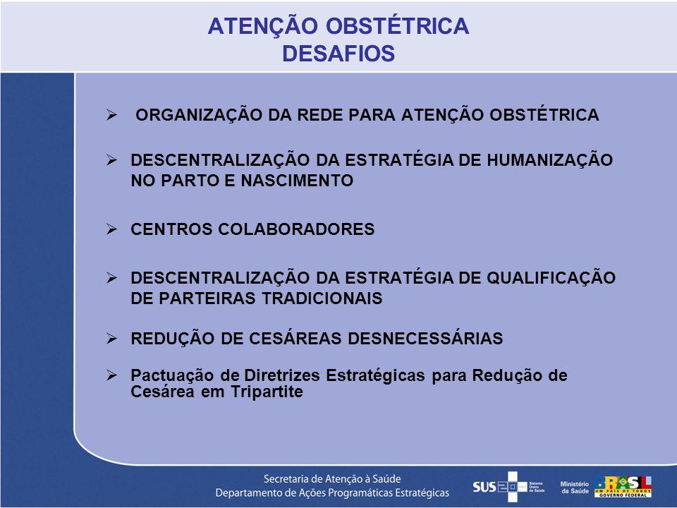 ATENÇÃO OBSTÉTRICA DESAFIOS ORGANIZAÇÃO DA REDE PARA ATENÇÃO OBSTÉTRICA DESCENTRALIZAÇÃO DA ESTRATÉGIA DE HUMANIZAÇÃO NO PARTO E NASCIMENTO CENTROS CO