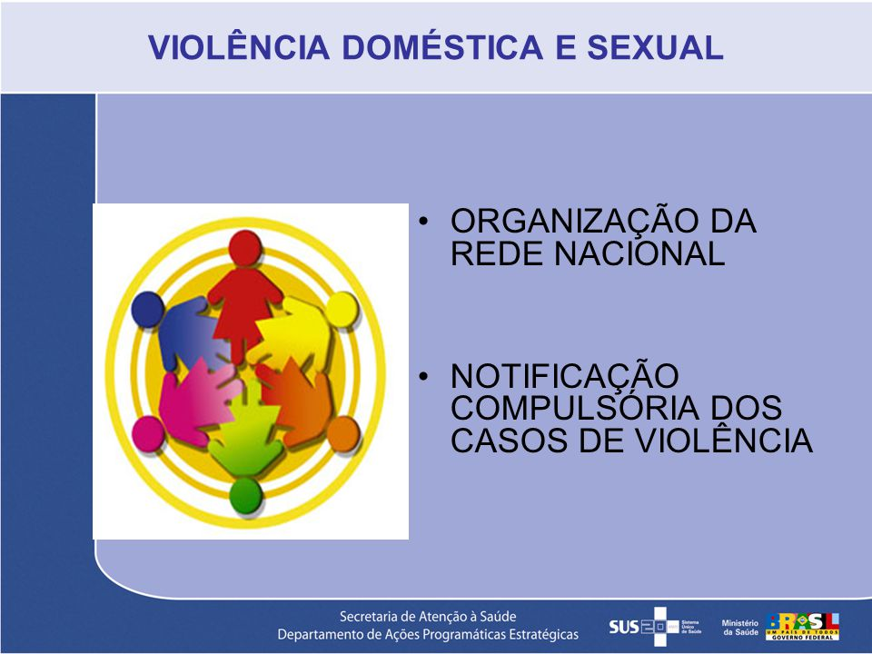 VIOLÊNCIA DOMÉSTICA E SEXUAL ORGANIZAÇÃO DA REDE NACIONAL NOTIFICAÇÃO COMPULSÓRIA DOS CASOS DE VIOLÊNCIA