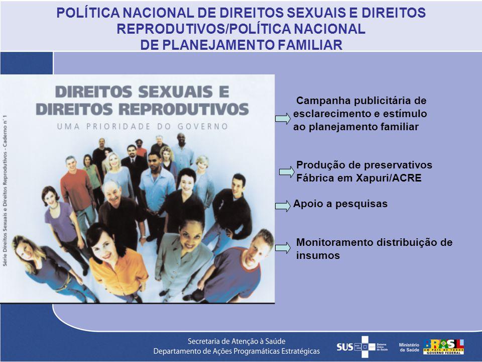 POLÍTICA NACIONAL DE DIREITOS SEXUAIS E DIREITOS REPRODUTIVOS/POLÍTICA NACIONAL DE PLANEJAMENTO FAMILIAR Campanha publicitária de esclarecimento e est