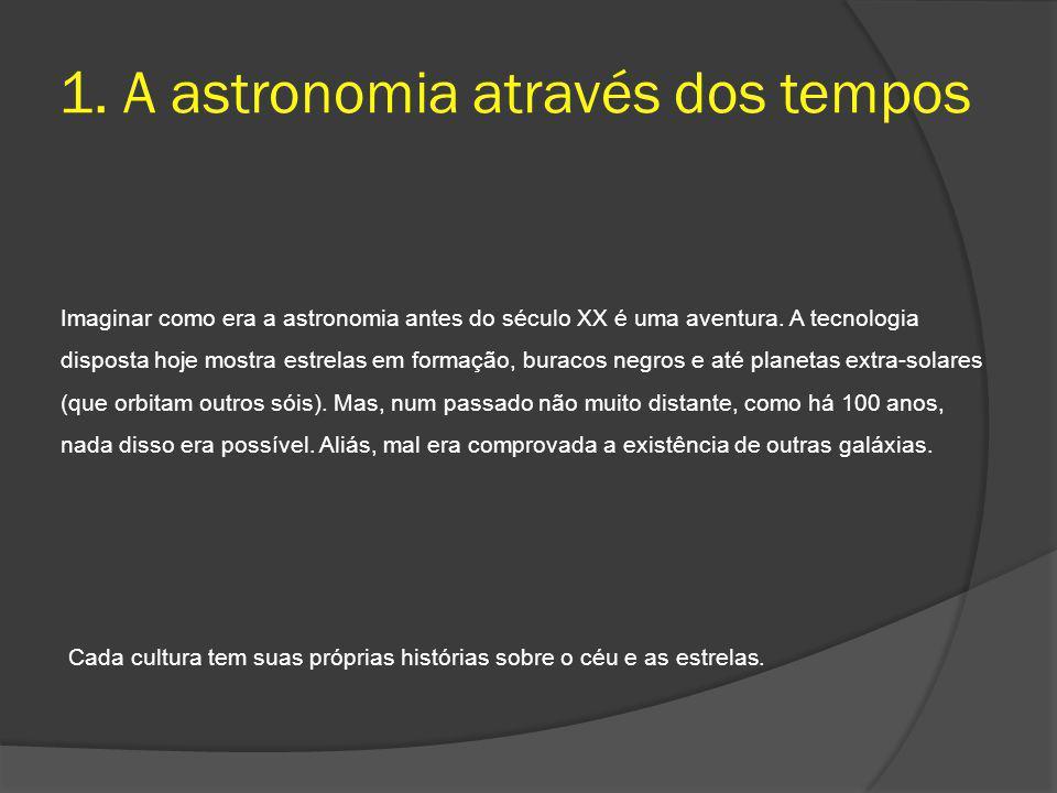 1. A astronomia através dos tempos Imaginar como era a astronomia antes do século XX é uma aventura. A tecnologia disposta hoje mostra estrelas em for