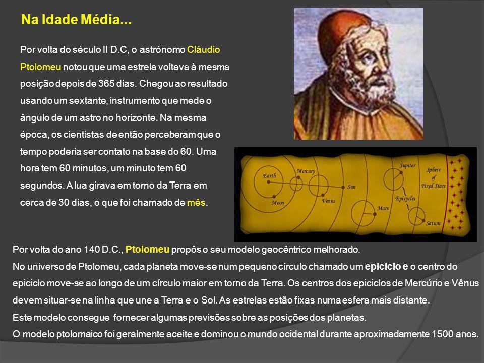 Na Idade Média... Por volta do ano 140 D.C., Ptolomeu propôs o seu modelo geocêntrico melhorado. No universo de Ptolomeu, cada planeta move-se num peq
