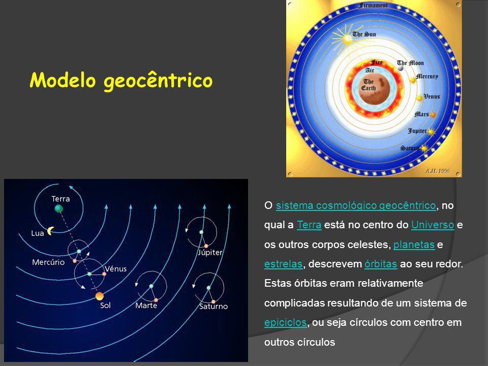 Modelo geocêntrico O sistema cosmológico geocêntrico, no qual a Terra está no centro do Universo e os outros corpos celestes, planetas e estrelas, des