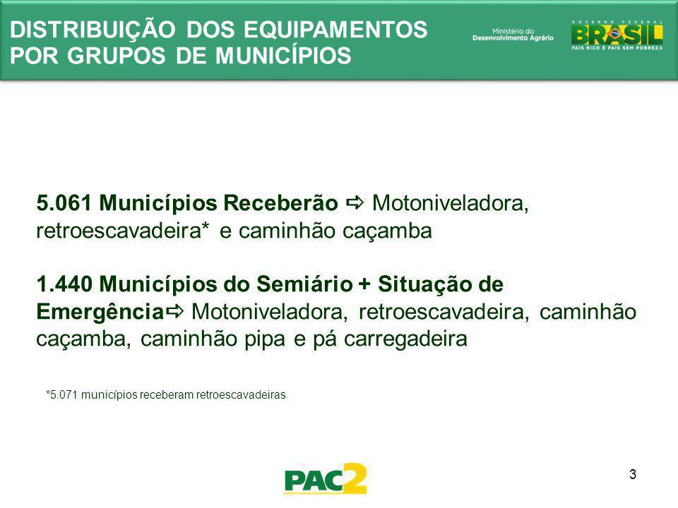 3 5.061 Municípios Receberão Motoniveladora, retroescavadeira* e caminhão caçamba 1.440 Municípios do Semiário + Situação de Emergência Motoniveladora