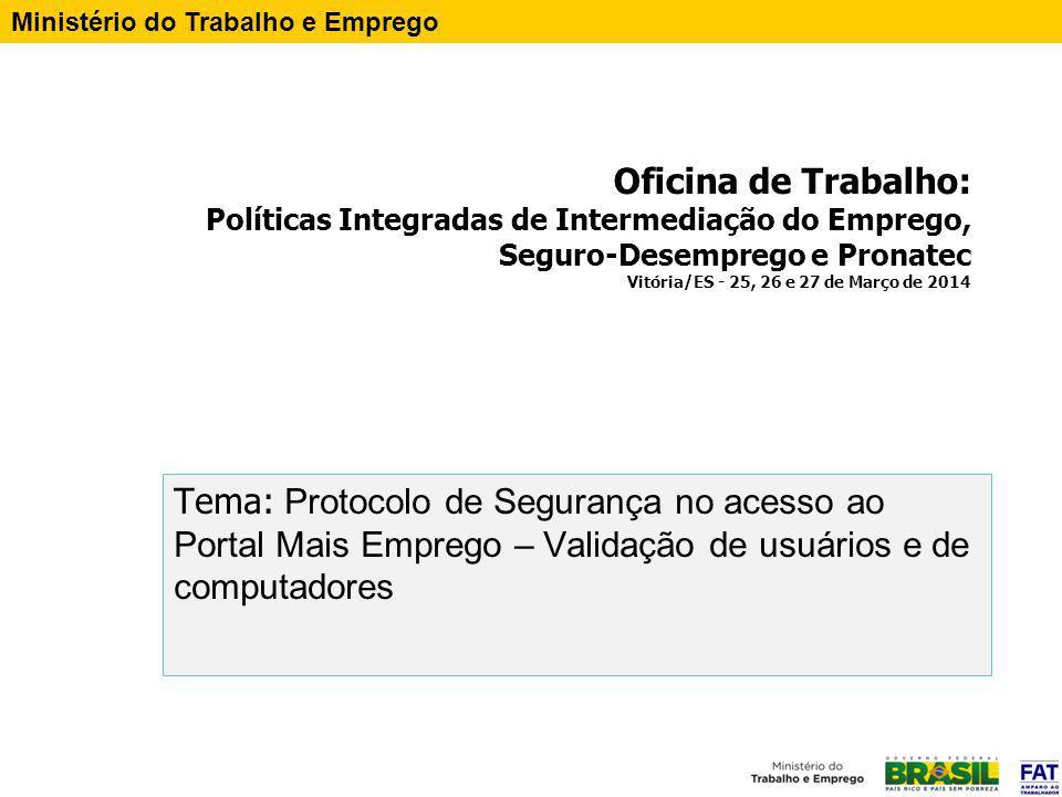 Oficina de Trabalho: Políticas Integradas de Intermediação do Emprego, Seguro-Desemprego e Pronatec Vitória/ES - 25, 26 e 27 de Março de 2014 Tema: Pr