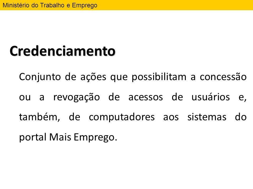 Credenciamento Conjunto de ações que possibilitam a concessão ou a revogação de acessos de usuários e, também, de computadores aos sistemas do portal