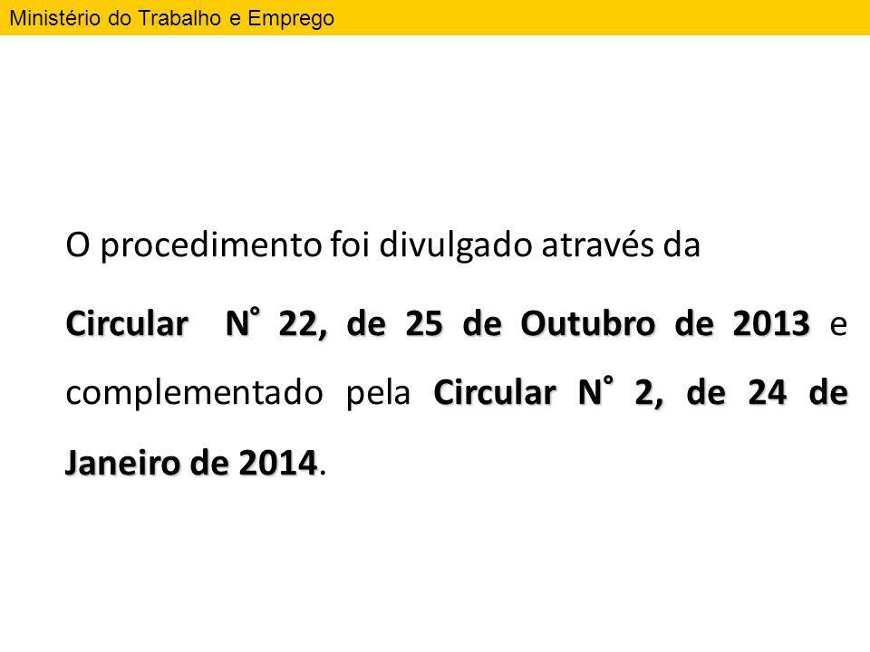 O procedimento foi divulgado através da Circular N° 22, de 25 de Outubro de 2013 Circular N° 2, de 24 de Janeiro de 2014 Circular N° 22, de 25 de Outu