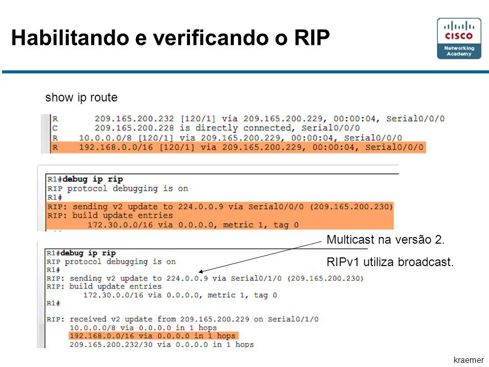 kraemer Habilitando e verificando o RIP show ip route Multicast na versão 2. RIPv1 utiliza broadcast.