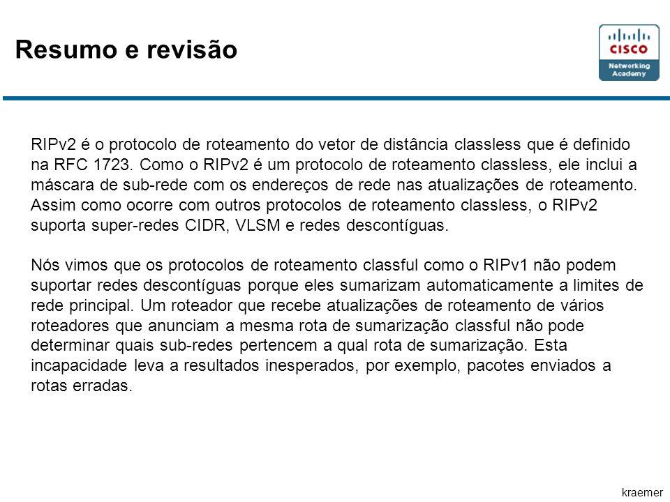 kraemer RIPv2 é o protocolo de roteamento do vetor de distância classless que é definido na RFC 1723. Como o RIPv2 é um protocolo de roteamento classl